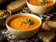 Френска тиквена супа със сметана и праз лук